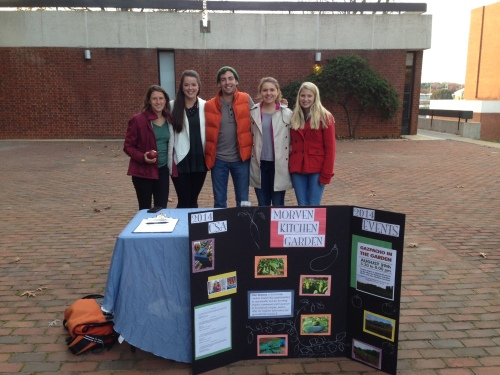 A group of students represents the Morven Kitchen Garden at the Virginia Film Festival's reception of the documentary Fed Up.