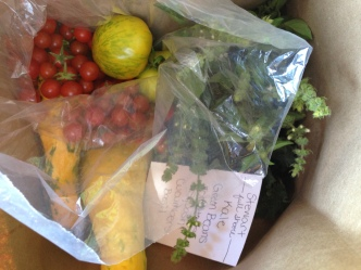 Here is the a typical delivery bag of CSA goodies.